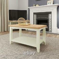 Two Tone White Small Coffee Table Centrepiece Shelf Storage Solid Wood Frame