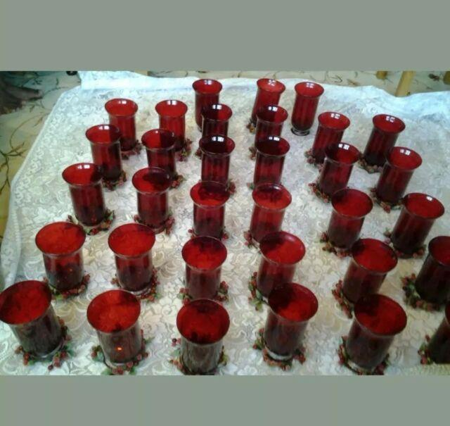 Weddings 8 Red 24 Glass Vases Candle Holders Table Centre Pieces