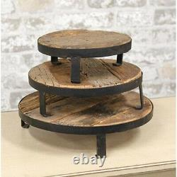 Weathered Wood and Metal Round Risers Set of 3 Centerpiece Table Top Decor