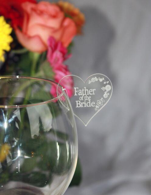 Wedding/party Table Name Places For Wine Glasses Personalised & Heart Shaped