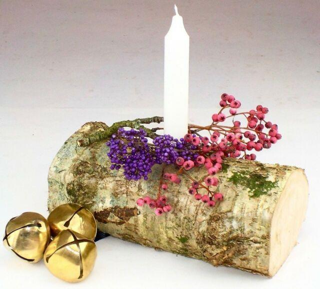 Wedding Table Centre Decoration Rustic Yule Log Candle Holder Dinner Party1391