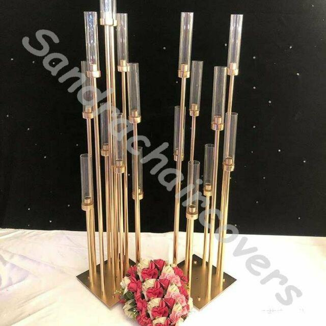 Weddings Tall Gold Candelabra Candle Holder Gold Metal Wedding Table Centerpiece