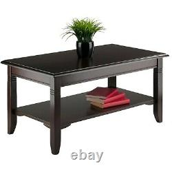 Wooden Coffee Table Living Room Office Centerpiece Furniture Cappuccino Finish