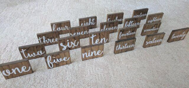 Wooden Table Numbers With White Calligraphy Font 4x6 Made Of Pine Wood