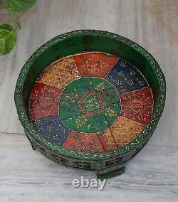 Wooden green handmade painted chakki home grinder table indian furniture stool