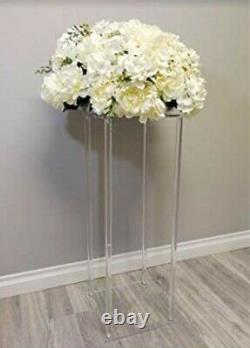 X3 80cm Clear Acrylic Harlow Pedestal Ghost Table Centrepiece Wedding Events